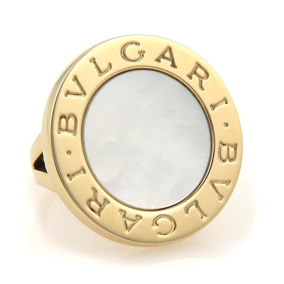 0a9a3396a8916 BVLGARI Yellow Gold & White Mother Of Pearl 18k Large Round Top Size 5 Ring