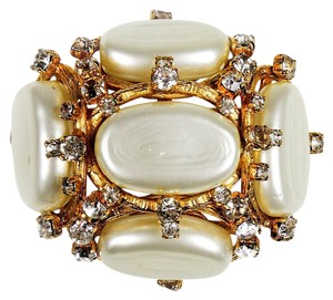 Chanel MUSEUM XL PEARL CRYSTAL PIN - VINTAGE BROOCH GOLD CHARM CC LOGO 94P