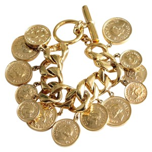 Chanel Rare Vintage Charm Bracelet featuring Coco Chanel Coins Gold Tone