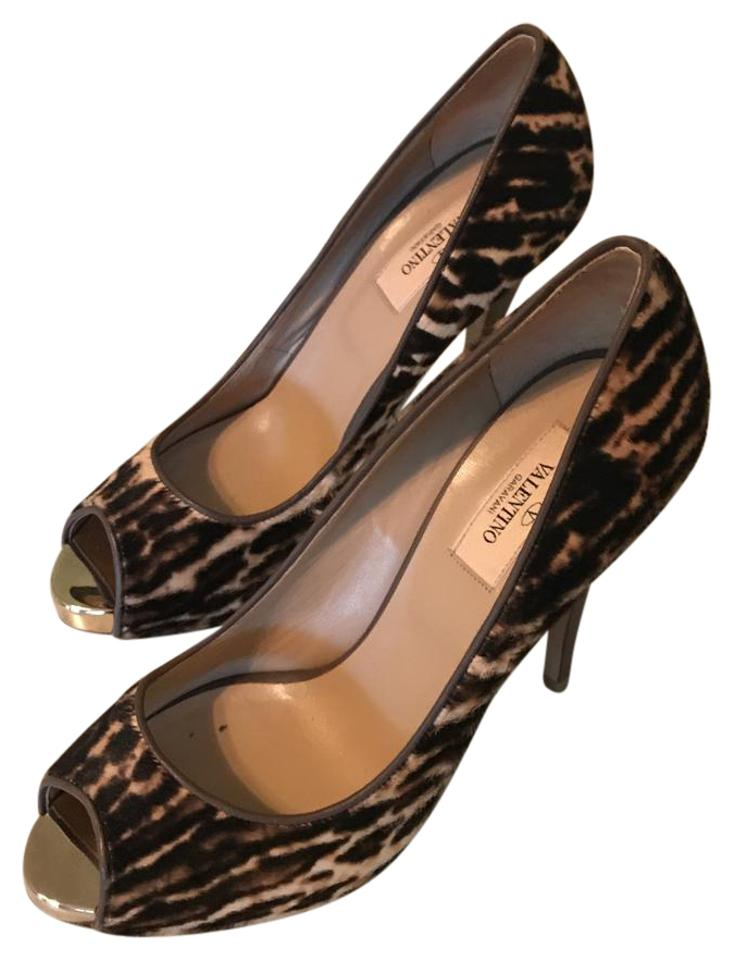 RED Valentino Pumps Brown /Tan Open Toe Pumps Valentino Platforms fde1f7