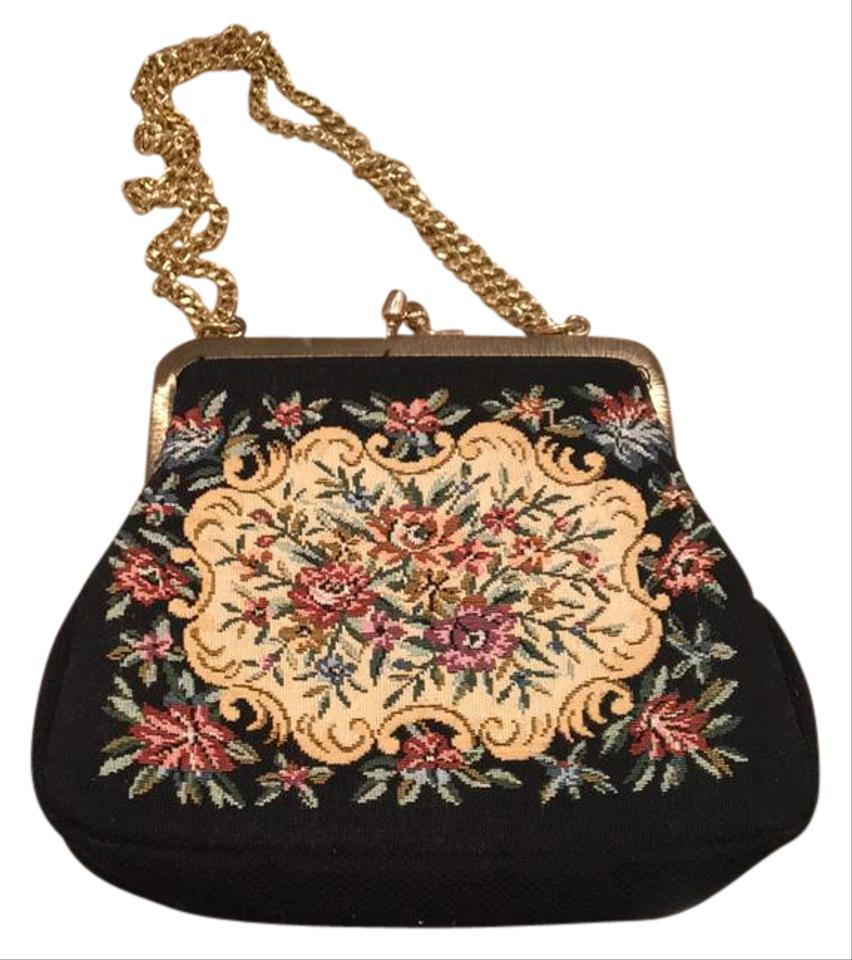 Victorian Look Purse Gold Chain Vintage Black with Tapestry Floral ... 0047234110e28