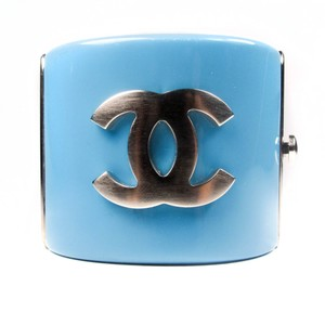 Chanel BRACELET - BLUE & BLACK CC LOGO RESIN CUFF WIDE BANGLE SILVER CHARM 07