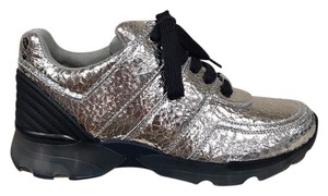 Chanel Crackle Leather Metallic Trainer Sneaker silver Athletic