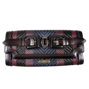 Burberry Prorsum Woven Buckle Striped Gold New Multi Clutch