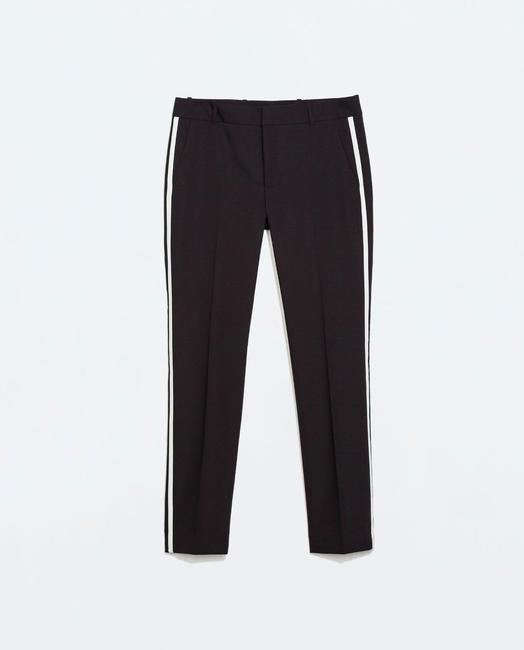Zara Work Ankle Trouser Pants Black & white