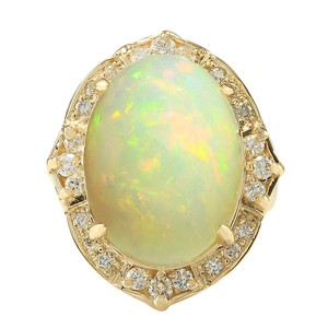 Fashion Strada 10.50CTW Natural Opal And Diamond Ring In 14K Yellow Gold