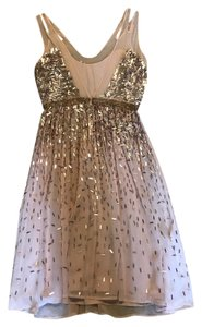 French Connection Sequins Formal Pink Midi Tea Length Dress
