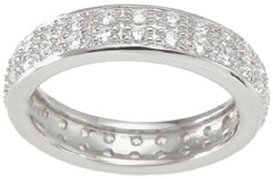 Solid .925 Sterling Silver 1.0 Ct Pave Double Row Anniversary Eternity *size 5 6 7 8 9 * Women's Wedding Band