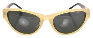 The Row Linda Farrow for The Row Beige and Leather Sunglasses