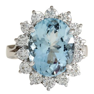 Fashion Strada 6.96CTW Natural Aquamarine And Diamond Ring In 14K Solid White Gold