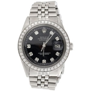 Rolex Mens 36 MM Datejust Jubilee Stainless Steel Black Diamond Watch 2.0Ct
