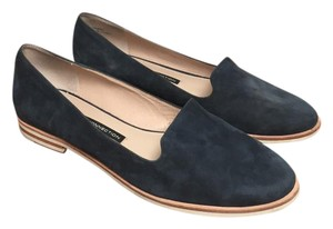 French Connection Smoking Slipper Suede Loafer Slip-on Blue Navy Flats