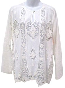 Bailey 44 Lace Lace Trim Boho Sheer Top Off White