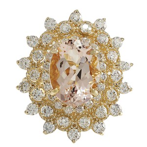 Fashion Strada 6.33CTW Natural Peach Morganite And Diamond Ring In 14K Solid Yellow G