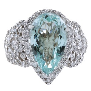 Fashion Strada 7.30CTW Natural Aquamarine And Diamond Ring In 14K Solid White Gold