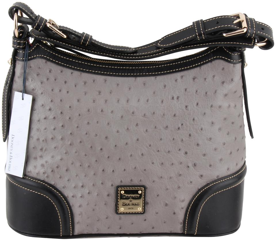 47889aa80c Dooney & Bourke Ostrich-embossed Grey Leather Hobo Bag - Tradesy