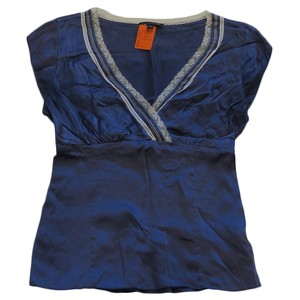 The Limited Silk V-neck Lace Ribbons Top Blue