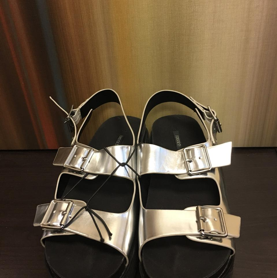 5d91df7931 Forever 21 Silver Faux Leather Platform Sandals Size US 7 - Tradesy