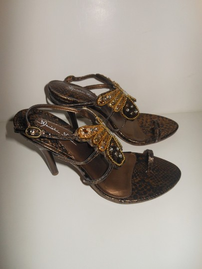 Marichi Mani Open Toe Slingback Butterfly Gold Size 8 Brown Sandals