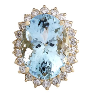 Fashion Strada 15.08CTW Natural Aquamarine And Diamond Ring In 14K Solid Yellow Gold