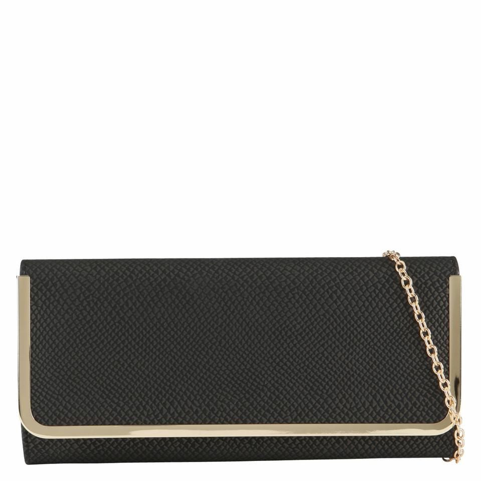 ebd890616e2 ALDO Athineum with Gold Chain Shoulder Strap Black Poly Clutch - Tradesy