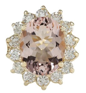 Fashion Strada 6.08CTW Natural Morganite And Diamond Ring In 14K Solid Yellow Gold