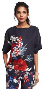 Banana Republic Preppy Floral Top Navy