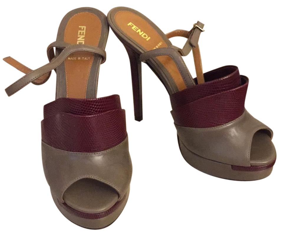 Fendi Taupe and Burgundy Sandal Sandal Burgundy Platforms 798858