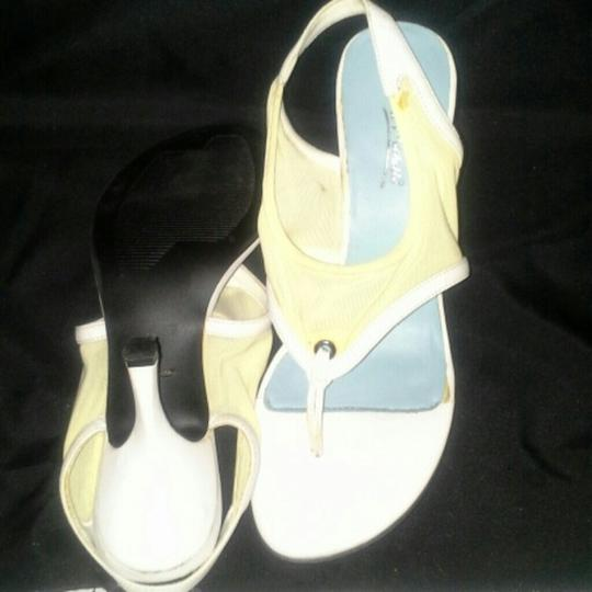 Anne Michelle Leather Mesh Sling Back White Sandals