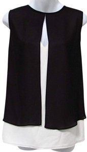 Michael Kors Layered Sleeveless Flowy Keyhole Top Black/Off White