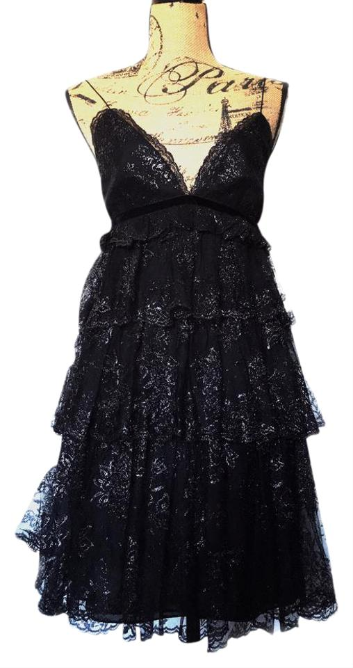Marchesa Notte Black Silver Shimmer Silk Tulle Lace Tiered Short Cocktail Dress Size 6 S 77 Off Retail