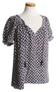 Joie Small Silk Top White Blouse with Navy and Red Detail