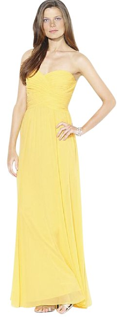 Item - Yellow Strapless Evening Gown Long Formal Dress Size 10 (M)