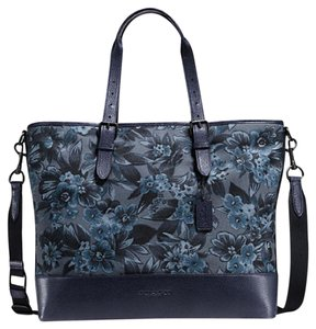 Coach Business Work Floral Men's Tote Large Navy Messenger Bag