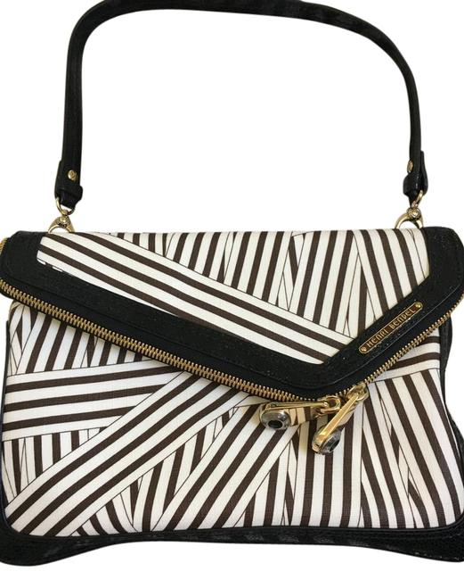 Item - Debutante Asymmetric Black Brown and White Leather Clutch