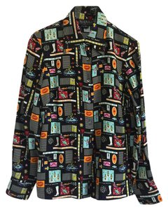 Nicole Miller Vintage Limited Edition Button Down Shirt Multi