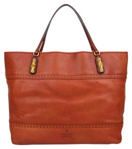 Gucci Gg Leather Large Handbag Sienna Tote in Orange
