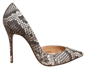 Christian Louboutin Iriza Stiletto Python Snakeskin Cut-out grey Pumps