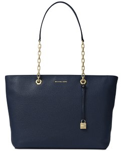 Michael Kors Chain Quilted Business Leather Laptop Tote in navy