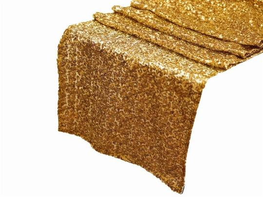 Gold 1 Go Sequin Table Runner Glitter Sparkle Glam Bling Event Tablecloth