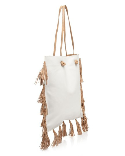 Loeffler Randall Leather Tassel Fringe Tote in white/ nude