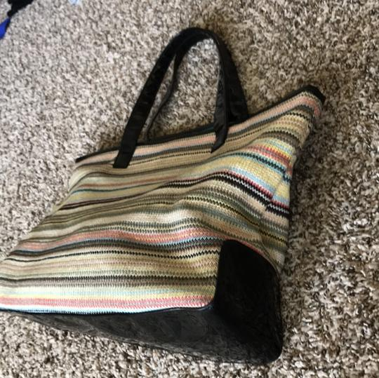 Stephanie Johnson Tote in multi-colored with black straps