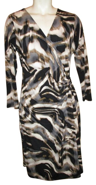 Preload https://item5.tradesy.com/images/calvin-klein-black-brown-grey-and-white-34-sleeve-faux-wrap-knit-short-workoffice-dress-size-6-s-21293354-0-1.jpg?width=400&height=650