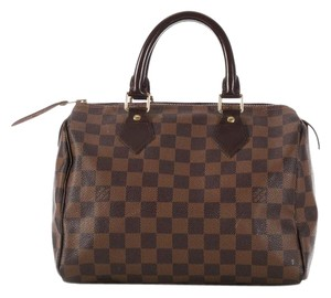 Louis Vuitton Lv.l0420.05 Checkered Damier Canvas Leather Satchel in Brown