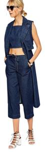 ASOS Palazzo Culottes Denim High Rise Wide Leg Pants Blue
