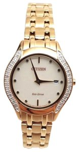 Citizen Eco-Drive Ladies Bella White Dial Diamond Rose Gold Watch EM0123-50A