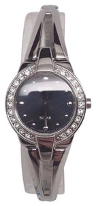 SEIKO DR ESS SOLAR BLACK MOP DIAL SW.CRYSTALS ST. STEEL WOMEN'S WATCH SUP051
