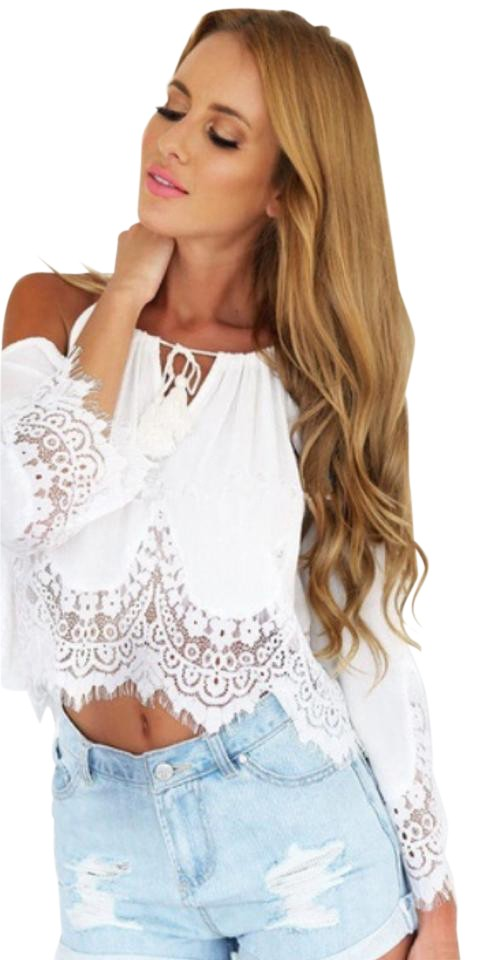 c96ebbc8bf915 White The Shoulder Bell Sleeve Lace Boho Blouse Size 8 (M) - Tradesy