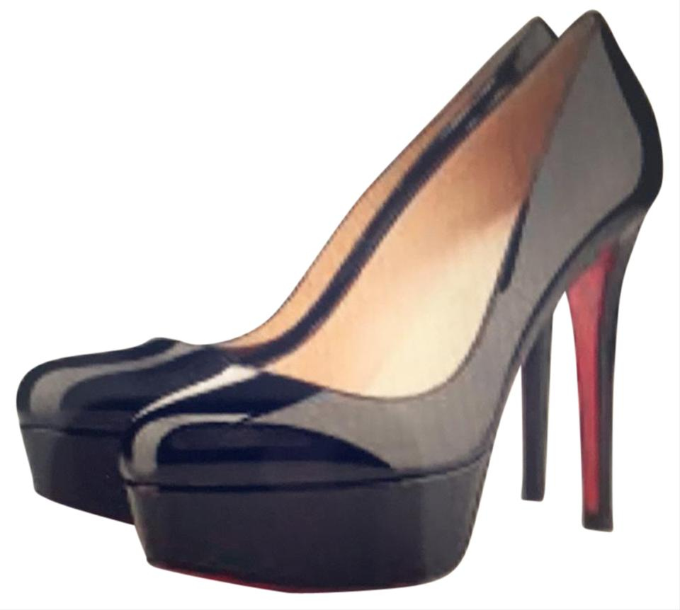 844d9828a973 Christian Louboutin Black and Red Bianca 120 Patent Calf Pumps ...