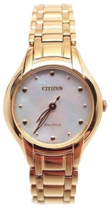 Citizen Eco-Drive Ladies Silhouette Gold Tone Bracelet Dress Watch EM0282-56D